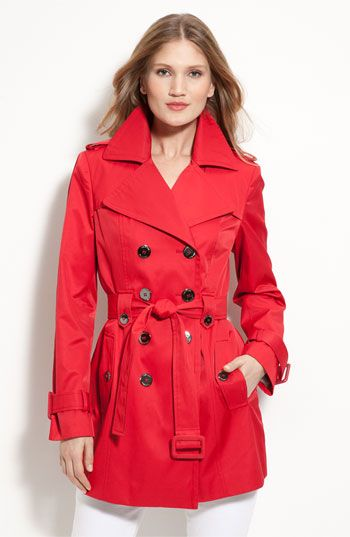 Calvin Klein's Double Breasted Trench in Cherry.