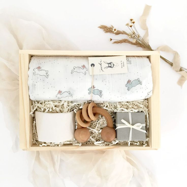 Welcome home Mom and Baby with this sweet gesture. Gender neutral and designed with mom in mind, this box is sure to delight! Bunny swaddle from Pehr Designs. These swaddles are 100% muslin cotton and