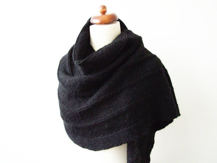 Black wrap with metallic thread http://etsy.me/2DlJAJO #accessories #shawl  #black #glamscarf #handknittedscarf #glamfashion #knittedwrap #blackwrap