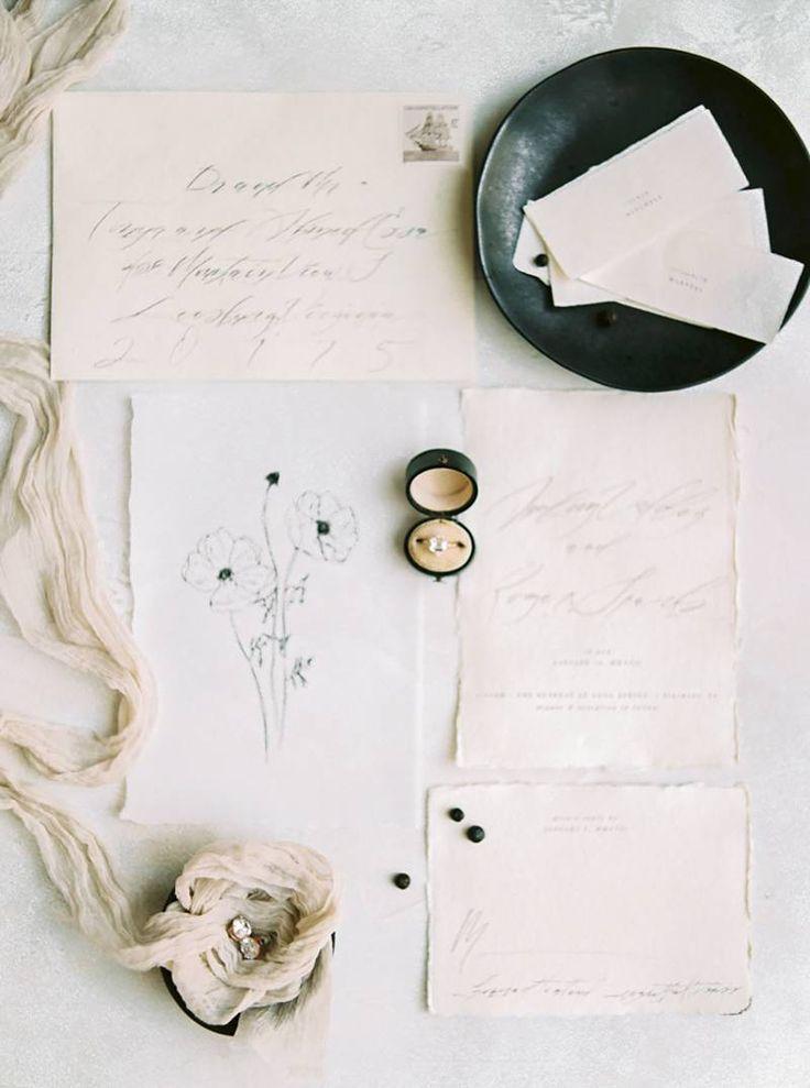 Wedding Invitation Suite Minimalist & delicate wedding ideas in a neutral palette via Magnolia Rouge.