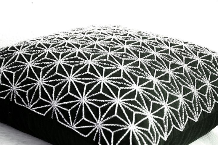 Black Faux Silk Designer Toss Pillow Case With Japanese Silver Embroidered Geometric Cushion Cover