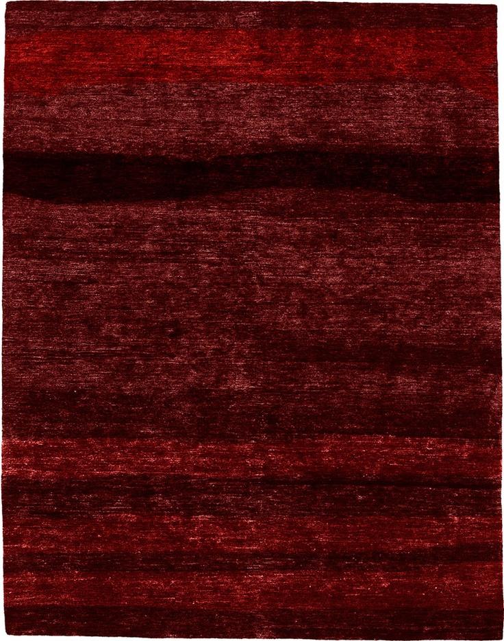 lethe deep red hand knotted tibetan modern rug