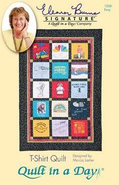 T-Shirt Quilt: Eleanor Burns Signature Quilt Pattern QD-1256. Advanced beginner memory quilt pattern.