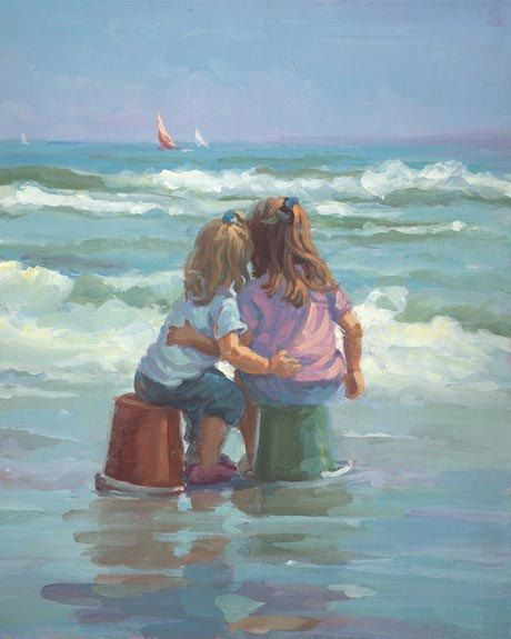 Limited Edition SIGNED NUMBERED daughters Girls Beach waves Shore Raad 16 x 20 Sale Free Shipping fathers Day