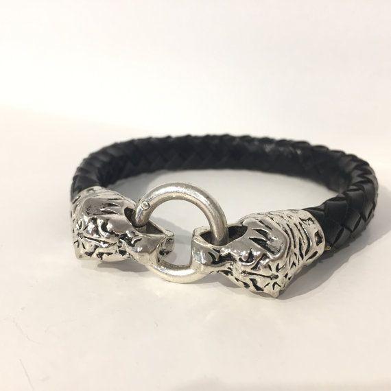 Bracelet leather braided bracelet gift man leather mens father