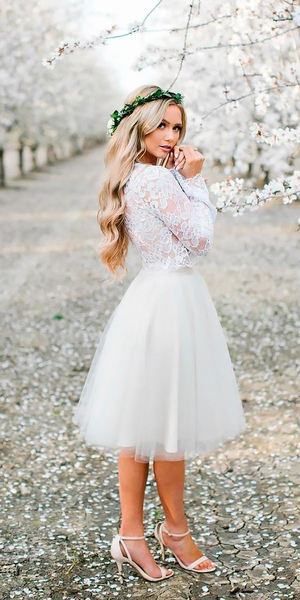 Bridal Guide: 27 Perfect Country Wedding Dresses ❤️ short lace long sleeved country wedding dresses anna perevertaylo Full gallery: https://weddingdressesguide.com/country-wedding-dresses/