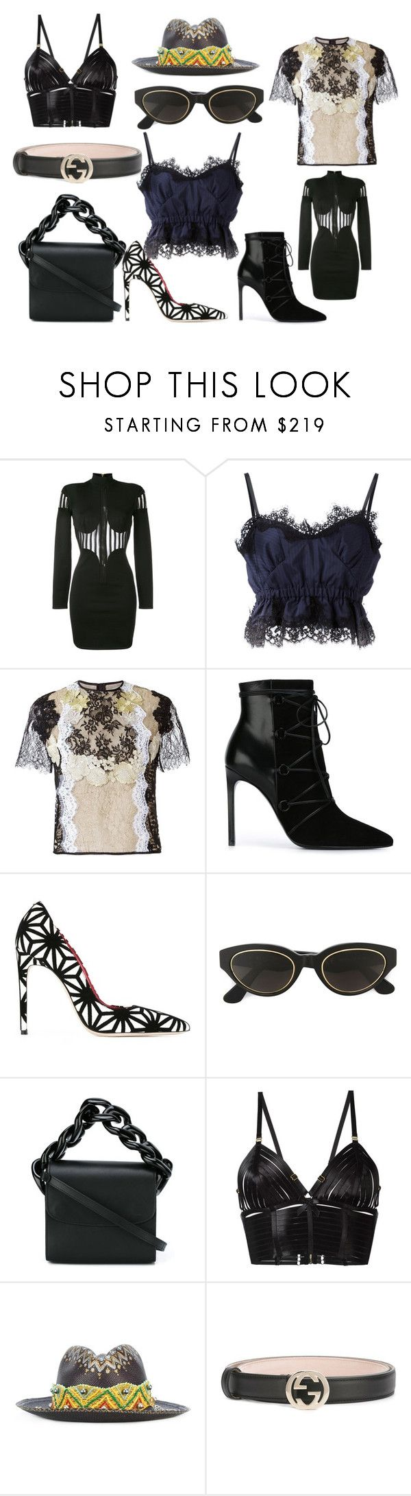 """black collection sale"" by monica022 ❤ liked on Polyvore featuring Balmain, Sacai, Martha Medeiros, Yves Saint Laurent, Dsquared2, RetroSuperFuture, Marques'Almeida, Bordelle, Ibo-Maraca and Gucci"