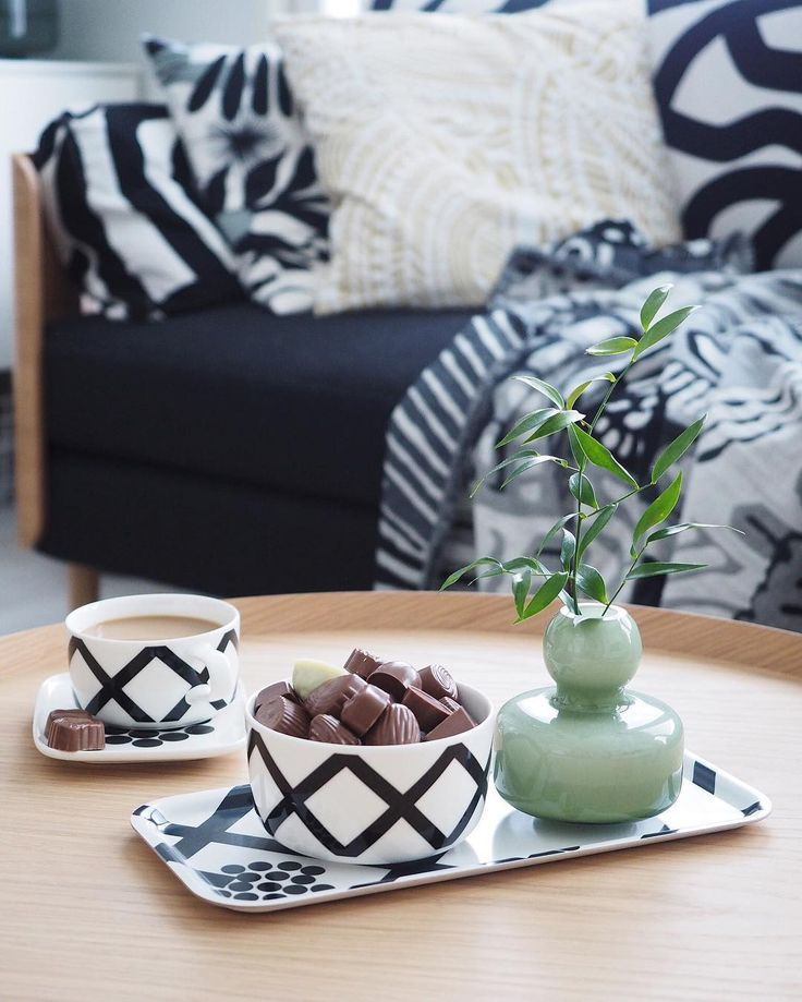 Hortensie, spalje and kumiseva prints with the Flower vase.  by (@kaikkimitaolen) on Instagram: Shop online at boltofcloth.com    #monochrome #scandi #finnish #style #marimekko