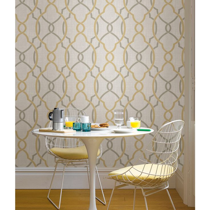 Nu x Sausalito Taupe / Yellow Peel and Stick Wallpaper by WallPops!