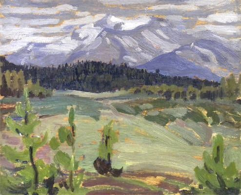 A.Y. Jackson - Mountain Range 8.5 x 10.5 Oil on split panel (1924)