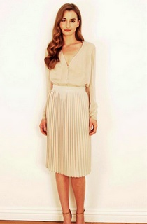 Pleated Tea Length Nude Dress.