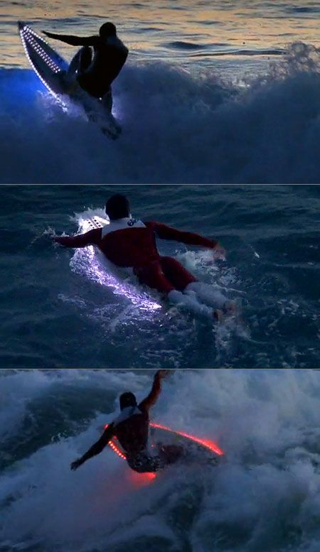 LED Surfboards Illuminate the Ocean - TechEBlog  Seems like it could be a really bad idea... But SO SICK