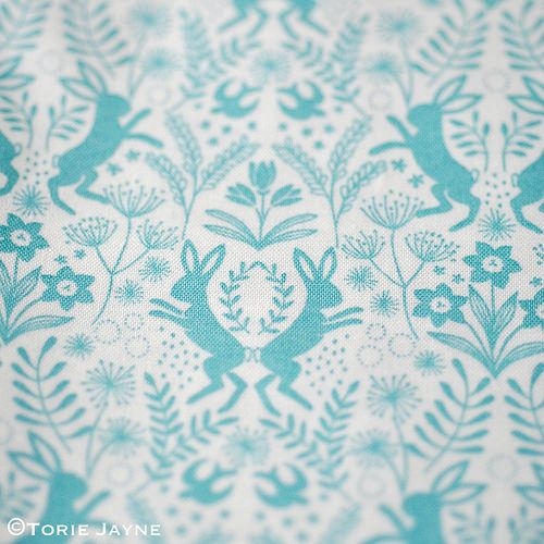 'Little Hares Blue' fabric