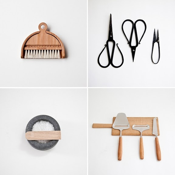 wooden dust pan and broom, whimsical kitchen shears, stone salt dish, chic serving utensils. mjolk kitchen products. natural kitchen inspiration.