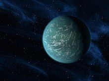 This is Kepler-22b. This Earth-Like planet has a radius of  8,075.9 mi and is 587.1 light years  away from Earth. It was discovered by the Kepler space telescope on December 5th 2011.
