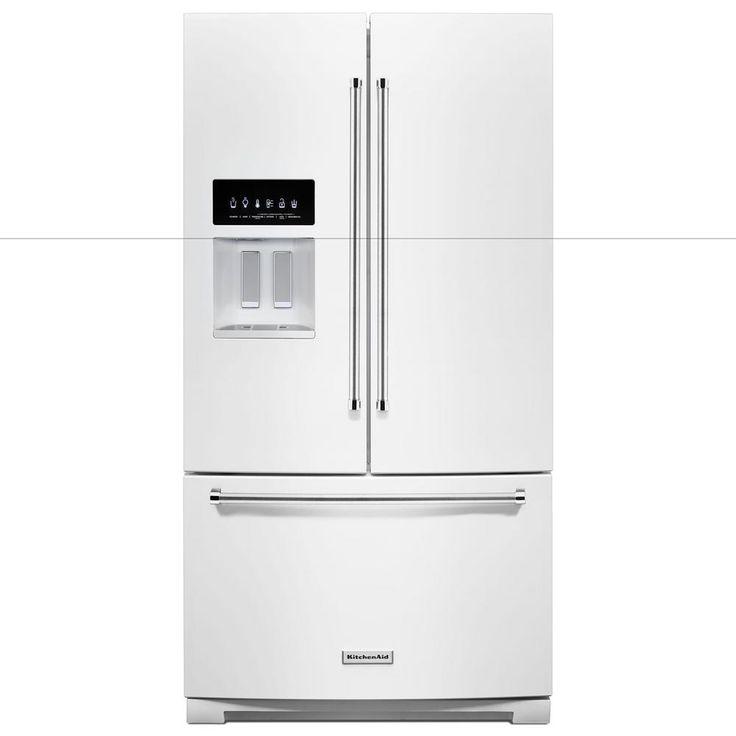 Kitchenaid 27 cu ft bottom freezer refrigerator in white