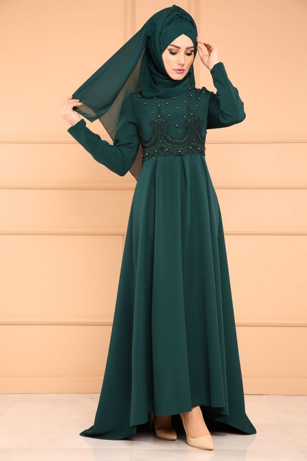 *** YENİ ÜRÜN ** Beli Güpürlü Peplum Elbise Zümrüt Ürün Kodu: MDP5100 --> 109.90 TL