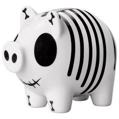 Black and white striped piggy #paintyourown #ceramics