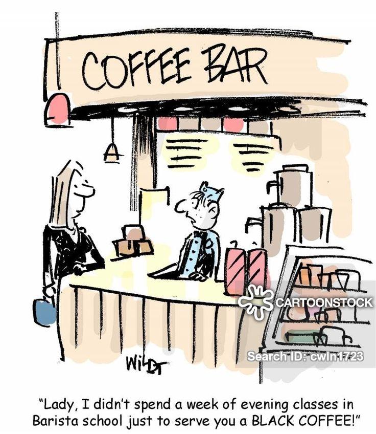 Black coffee coffeehumor barista school cartoons and