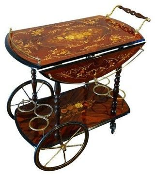Vintage Italian Marquetry Inlay Bar Cart traditional-bar-carts