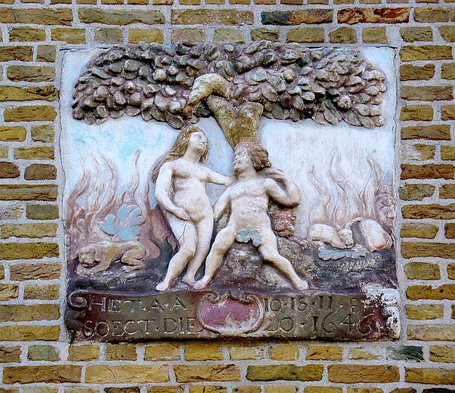 Gevelsteen Adam en Eva in het Paradijs Lekkerkerk