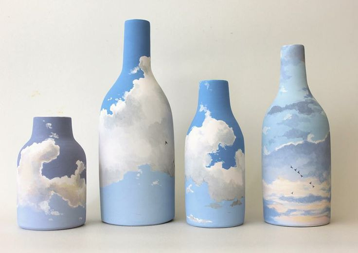 Niharika Hukku - Clouds: Clay Ceramics Pottery, Bottle Crafts, Crafts Ideas, Ceramics Vase Ideas, Winter 2015, Niharika Hukku, Pottery Ceramics, Ceramics Ideas, Paintings Ceramics