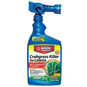 Bayer Advanced 704115A Crabgrass Killer for Lawns Ready-to-Spray, 32-Ounces by Bayer Advanced. $21.48. Will not harm your lawn when used as directed. One bottle treats 5,000 square feet. The convenient sprayer connects to a garden hose and automatically dispenses the crabgrass killer. Formula is ideal if you have crabgrass invading your lawn or if you missed your pre-emergent crabgrass control application. This product kills crabgrass and other listed grass weeds ...