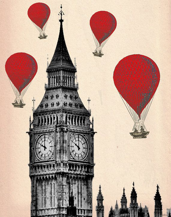 Big ben london 14x11 red hot air balloons art print for Balloon decoration london