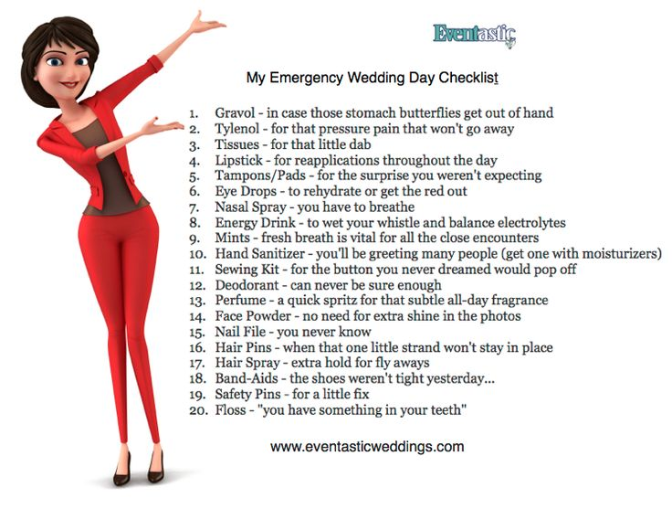 Your wedding day emergency kit checklist. www.eventastic.com