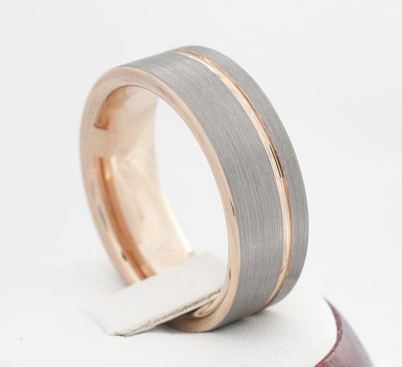 Rose Gold Tungsten Ring Grey Brushed Wedding Bridal Band 8mm Man