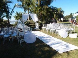 Gorgeous wedding venue on the goldcoast! Visit our website for venue info! Ceremony decoration idea Www.allaboutvenues.com.au