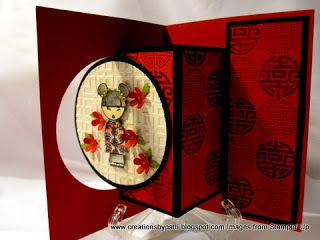 hand crafted card from Creations by Patti: 2010 Asian ... fancy fold with pop-ing front panel ...