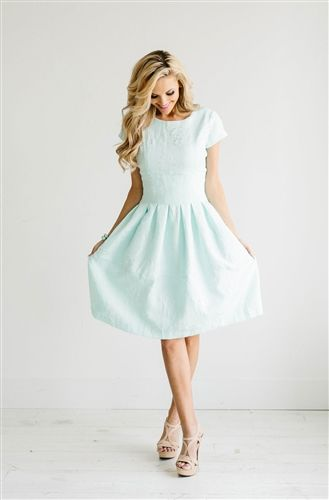 Cute Mint Floral Dress Down East Basics, Church Dresses, dresses for church…