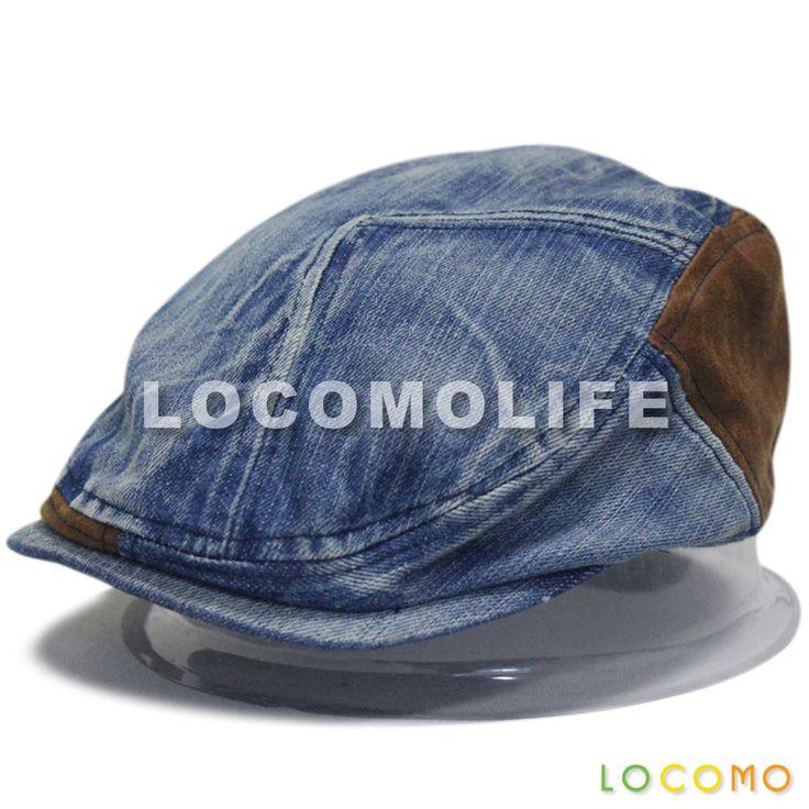 Men Women Couple Washed Jeans Denim Fabric Flat Cap Dark Blue