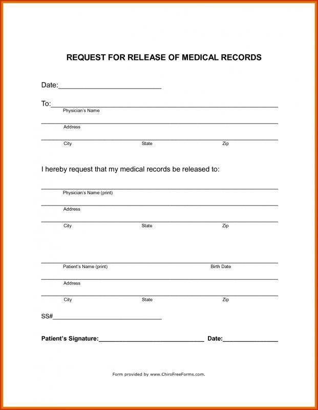 Medical Records Release Form Template Medical Records Medical Doctors Note Template