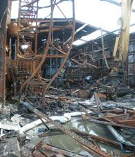 Photo shows the aftermath of the blaze at Burscough Industrial Estate