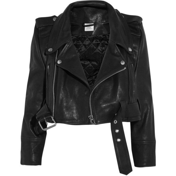 Vetements Cropped leather biker jacket (92 045 UAH) ❤ liked on Polyvore featuring outerwear, jackets, coats & jackets, leather biker jackets, leather moto jacket, cropped motorcycle jacket, zip jacket and genuine leather jackets