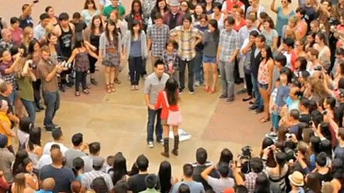 LOVE this proposal idea. Create a 'flash mob' for your fiancee! A forever memory