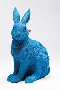 Kitsch Decorative Blue Coloured Rabbit Money Box | eBay. I'm thinking I can find animal statues at consignment places and spray paint bold colors.