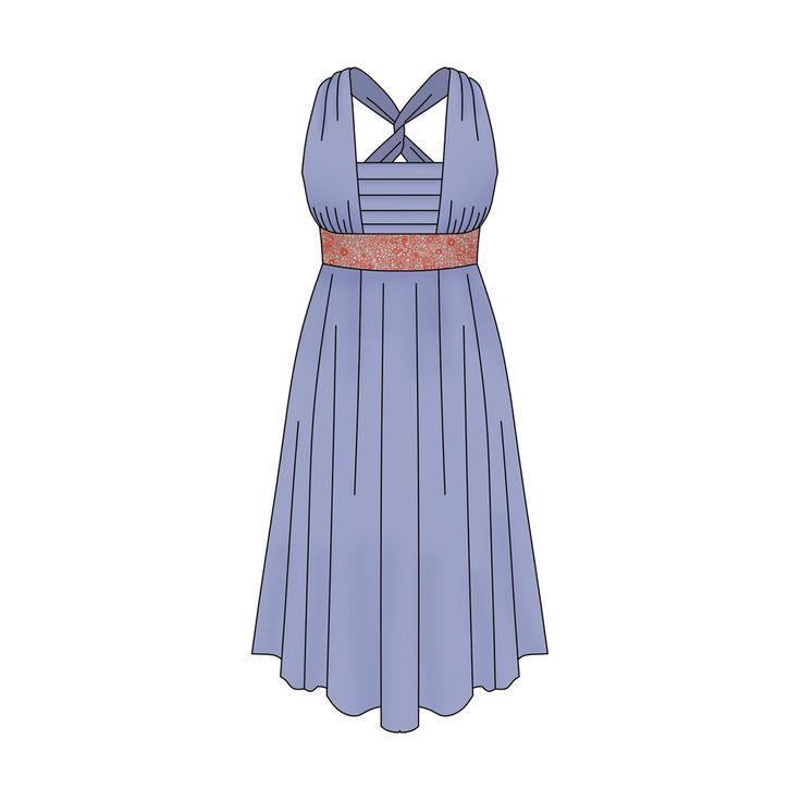 Modèle femmeRobe taille empire cachant le ventre et les hanches. Bretelles croisées dans le dos. Empiècement devant avec plis. Idéal pour les poitrines menues.Cette robe peut être cousue dans un coton fin pour l'été. Mais aussi dans un tissu plus précieux pour les fêtes.Tailles: 34-36-38-40-42-44(Ce modèle existe également pour enfant)* Tour de poitrine de 80cm à 100cmDifficulté: moyenne (fronces...