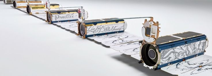planet labs' satellite space cameras are individually illustrated by artists  www.designboom.com