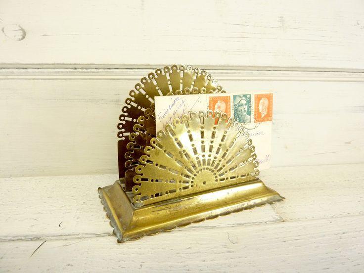 Victorian brass peacock letter rack, vintage desk accessories, letter holder