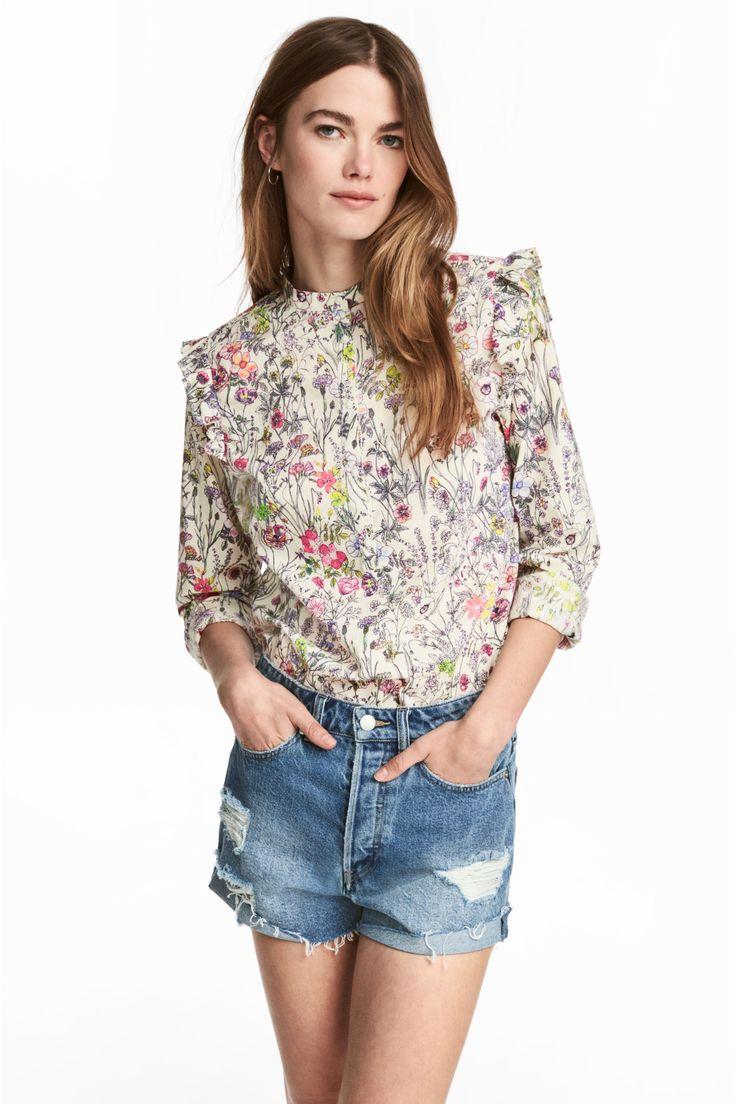 Katoenen blouse - Gebroken wit/bloemen - DAMES | H&M NL
