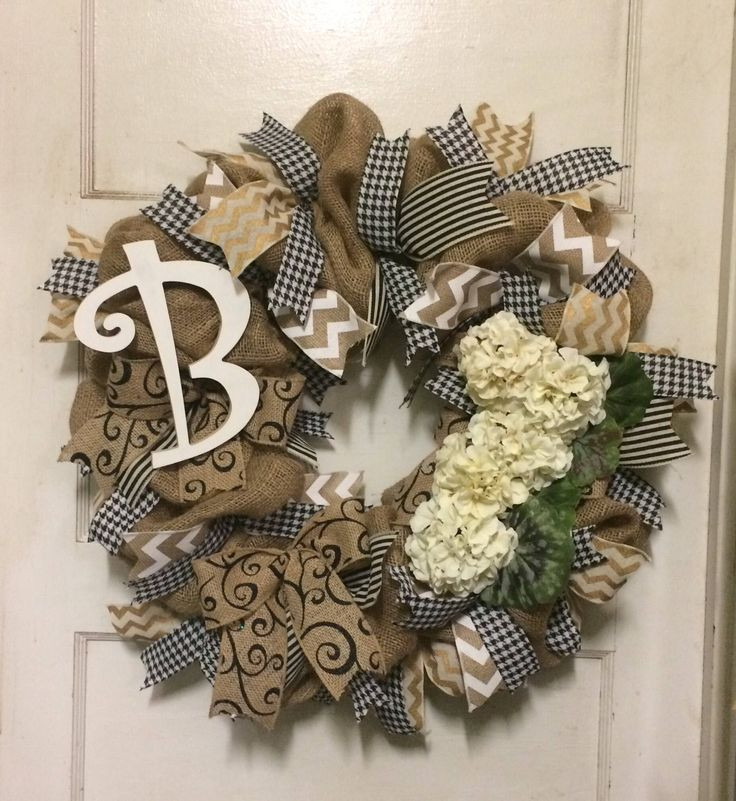 Monogrammed Burlap Wreath by WreathDrama on Etsy https://www.etsy.com/listing/516202918/monogrammed-burlap-wreath