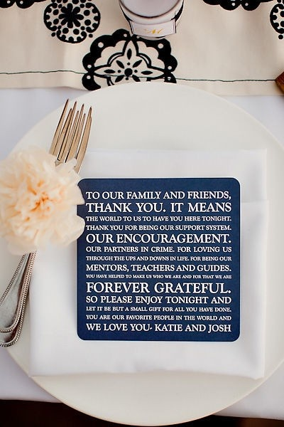 Cute Thank You to guests -- could be framed in vintage frames and set on the table as decoration?