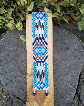 Pastel blauwe Indiaanse stijl parel armband, Blue Bead Loom armband, Native Amerika Inspired Jewelry, Native Amerika Manchet armband