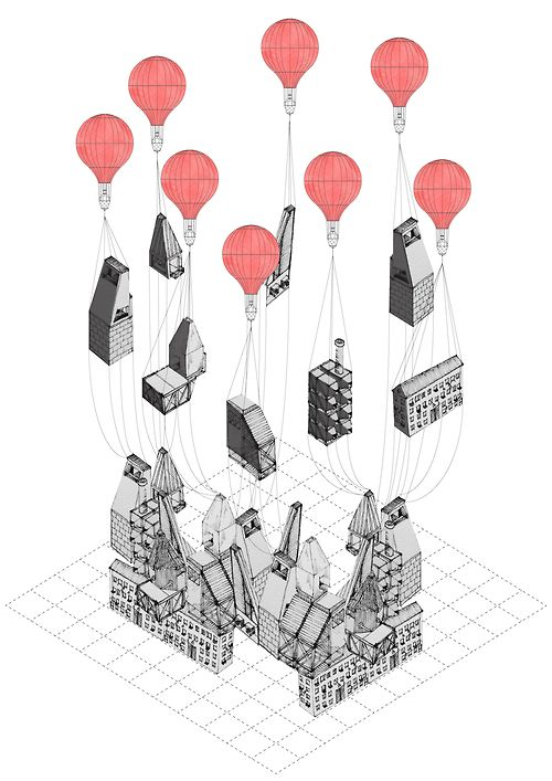 Illustration- balloons and buildings the buildings look appropriately shaped when amongst others and part of a city or town, but when it is taken apart do they look right? makes you think about illustrations, a little bit like a jigsaw puzzle.
