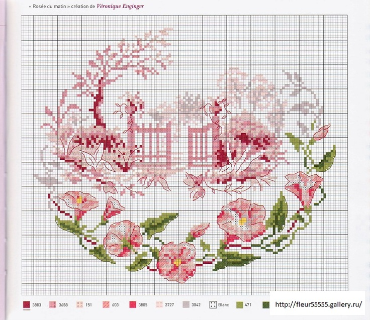 free cross stitch --  pink garden gate and pink flower border