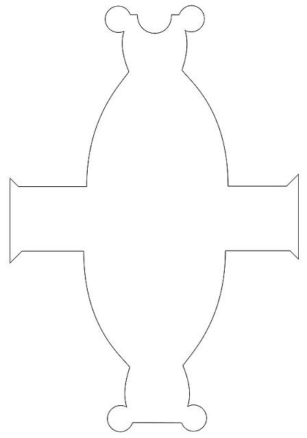 molde en blanco de cajita con forma de vestido