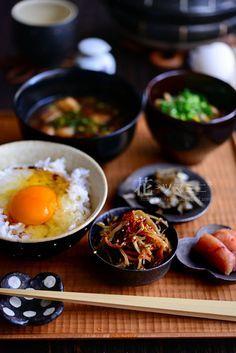 Japanese Breakfast with Tamago Kake Gohan, Fresh Egg on Rice 卵かけご飯
